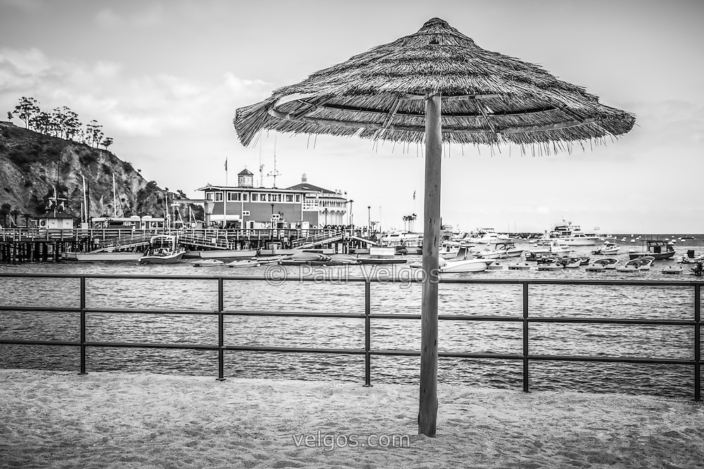 Catalina Island tropical tiki style straw umbrella in black and white with the Avalon green pier and Catalina Casino