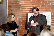 "Jim Wolfrunner (aka Jerry Francis, right) questions an audience member contestant during Mayhem & Mystery's production of ""Are You Brighter Than a Night Light?"" at the Spaghetti Warehouse in downtown Dayton, Monday, March 15, 2010."