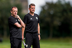 WREXHAM, WALES - Tuesday, August 13, 2019: Wales'  Under 15 Head coach Richard Williams and assistant coach Craig Knight during the UEFA Under-15's Development Tournament match between Wales and Cyprus at Colliers Park. (Pic by Paul Greenwood/Propaganda)
