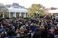 President Donald Trump and First Lady  Melania Trump and First son Baron Trump participate in the  pardon of the Thanksgiving turkey in the rose Garden on November 21,2017<br />