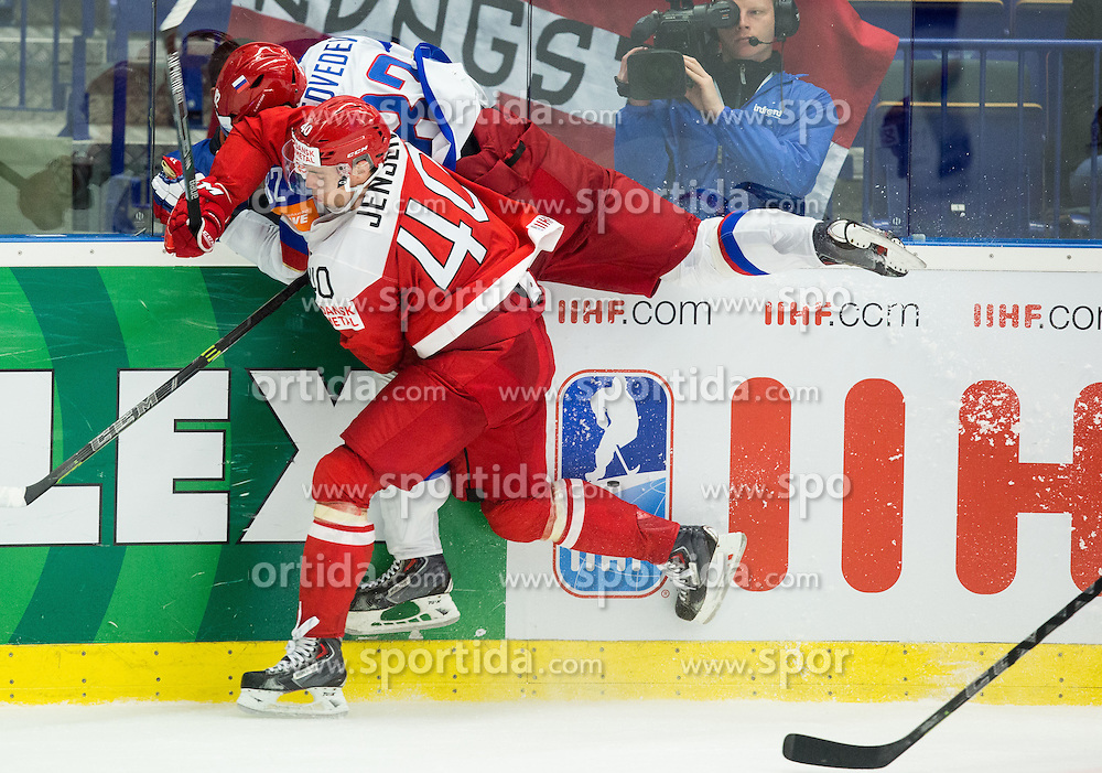Jesper Jensen of Denmark vs Yevgeni Medvedev of Russia during Ice Hockey match between Russia and Denmark at Day 6 in Group B of 2015 IIHF World Championship, on May 6, 2015 in CEZ Arena, Ostrava, Czech Republic. Photo by Vid Ponikvar / Sportida