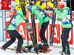 17.02.2017, Biathlonarena, Hochfilzen, AUT, IBU Weltmeisterschaften Biathlon, Hochfilzen 2017, Staffel Damen, im Bild Vanessa Hinz, Maren Hammerschmidt, Franziska Hildebrand and Laura Dahlmeier (GER) // Vanessa Hinz Maren Hammerschmidt Franziska Hildebrand and Laura Dahlmeier during Womens Relay of the IBU Biathlon World Championships at the Biathlonarena in Hochfilzen, Austria on 2017/02/17. EXPA Pictures © 2017, PhotoCredit: EXPA/ JFK