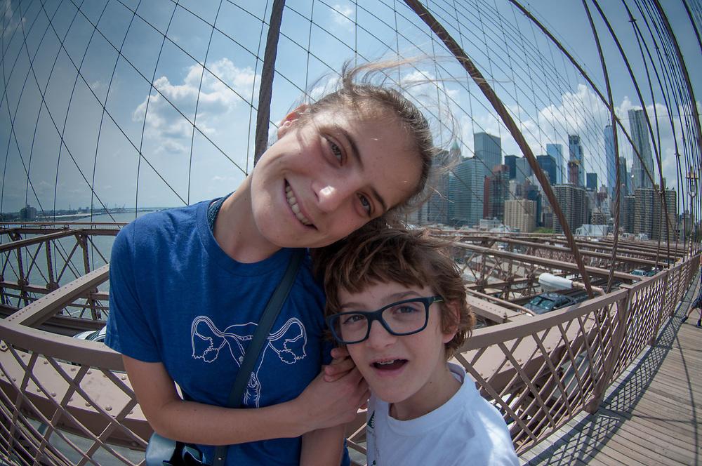 Eliza and Max, Brooklyn Bridge, New York, US