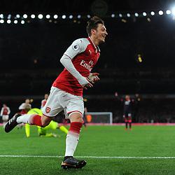 Mesut Özil of Arsenal celebrates his goal during Arsenal vs Huddersfield, Premier League, 29.11.17 (c) Harriet Lander | SportPix.org.uk