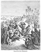 Christ Feeding the Multitude [Matthew 14:19] From the book 'Bible Gallery' Illustrated by Gustave Dore with Memoir of Dore and Descriptive Letter-press by Talbot W. Chambers D.D. Published by Cassell & Company Limited in London and simultaneously by Mame in Tours, France in 1866