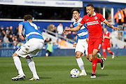 Charlton Athletic midfielder Jordan Cousins (8) runs at the defence during the Sky Bet Championship match between Queens Park Rangers and Charlton Athletic at the Loftus Road Stadium, London, England on 9 April 2016. Photo by Andy Walter.