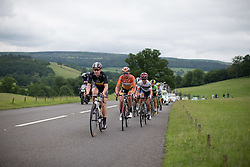 Jolien D'Hoore (BEL) of Wiggle Hi5 Cycling Team (left), Chantal Blaak (NED) of Boels-Dolmans Cycling Team (middle) and Ashleigh Moolmann-Pasio (RSA) (left) of Cervélo-Bigla Cycling Team lead the breakaway group during the Aviva Women's Tour 2016 - Stage 3. A 109.6 km road race from Ashbourne to Chesterfield, UK on June 17th 2016.