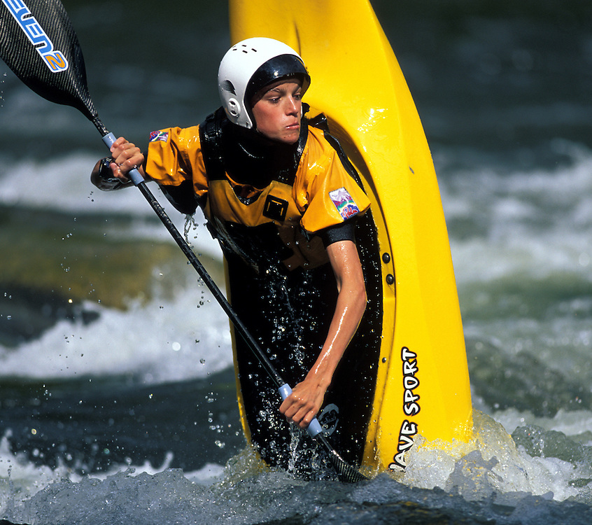 Kernville, CA - January 26th, 2003. A kayaker takes part in the rodeo competition on the Kern River in Kernville, CA. Photo by Wally Nell