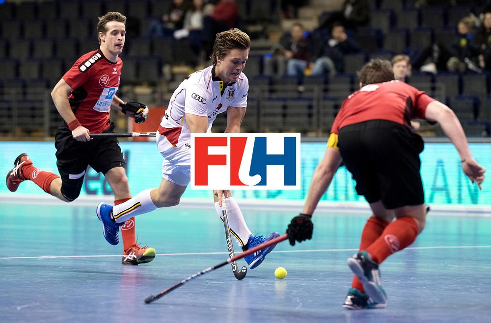 BERLIN - Indoor Hockey World Cup<br /> Men: Switzerland - Belgium<br /> foto: Tom Boon <br /> WORLDSPORTPICS COPYRIGHT FRANK UIJLENBROEK