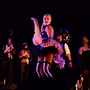 """""""Leggy dancin' dame Shady Sadie Sinclair"""" performs with Vaud and the Villains at The Music Hall in Portsmouth, NH. July 2012."""