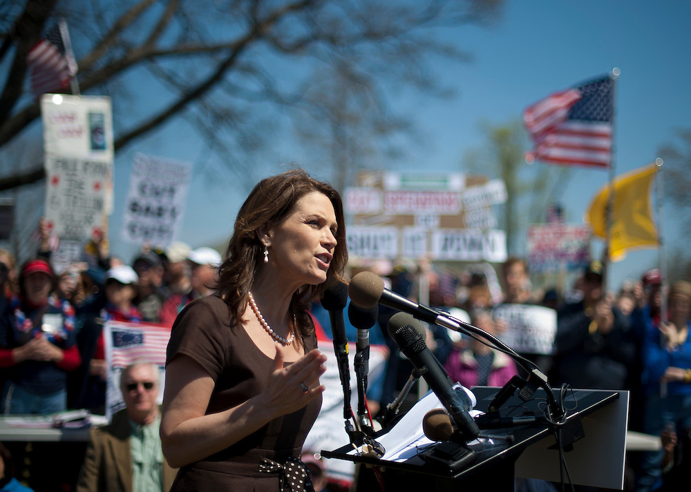 "Rep. MICHELE BACHMANN (R-MN) addresses the crowd during a rally near the U.S. Capitol. The ""Cut Spending Now Revolt"", staged Americans for Prosperity, was held to urge lawmakers to reduce federal spending. Americans for Prosperity describes itself as the nation's leading free-market, grassroots organization."