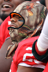 06 December 2014:  Normal Illinois. Marshaun Coprich stays warm on the sideline with a bit of camp wrapped around his head.  Temperature at game time was 35 degrees during a 1st round FCS NCAA football game between the Panthers of Northern Iowa and the Redbirds of Illinois State in Hancock Stadium.  Illinois State won the game 41-21.