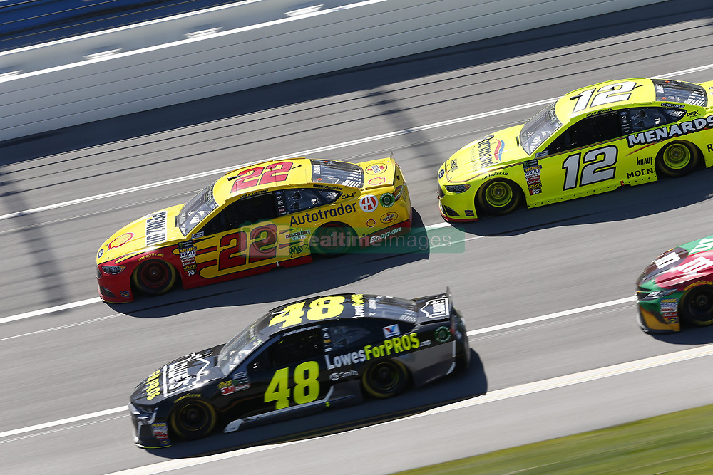 April 29, 2018 - Talladega, Alabama, United States of America - Jimmie Johnson (48)  battles side by side down the front stretch for position during the GEICO 500 at Talladega Superspeedway in Talladega, Alabama. (Credit Image: © Justin R. Noe Asp Inc/ASP via ZUMA Wire)
