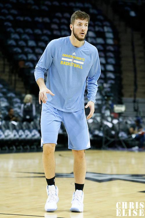 03 April 2015: Denver Nuggets forward Joffrey Lauvergne (77) warms up prior to the San Antonio Spurs 123-93 victory over the Denver Nuggets , at the AT&T Center, San Antonio, Texas, USA.