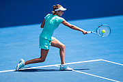 MELBOURNE, VIC - JANUARY 25: Elise Mertins of Belgium plays a shot in her Semifinal match during the 2018 Australian Open on January 25, 2018, at Melbourne Park Tennis Centre in Melbourne, Australia. (Photo by Jason Heidrich/Icon Sportswire)MELBOURNE, VIC - JANUARY 25: