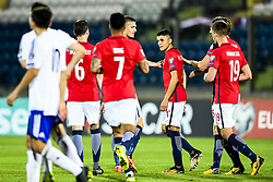 October 5, 2017 - San Marino, SAN MARINO - 171005 Mohamed Elyounoussi of Norway celebrates 4-0 during the FIFA World Cup Qualifier match between San Marino and Norway on October 5, 2017 in San Marino. .Photo: Fredrik Varfjell / BILDBYRN / kod FV / 150027 (Credit Image: © Fredrik Varfjell/Bildbyran via ZUMA Wire)