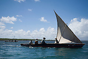 Fishing sailboats off Lamu Island, Kenya, Africa.