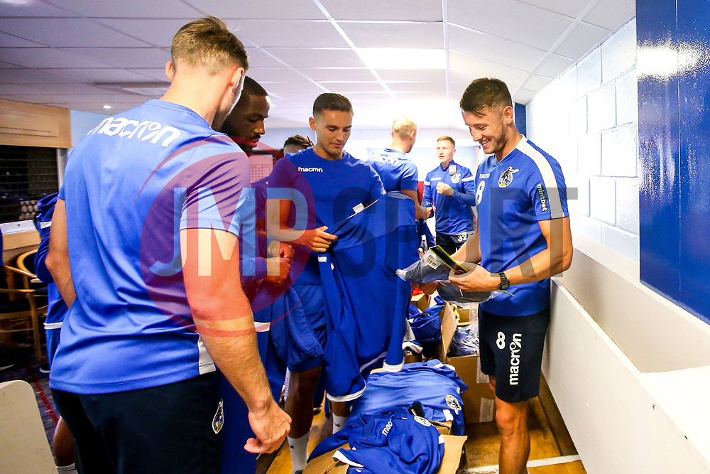 Ollie Clarke and Josh Hare of Bristol Rovers get their sizes for the new kit - Mandatory by-line: Robbie Stephenson/JMP - 27/06/2019 - FOOTBALL - The Lawns - Bristol, England - Bristol Rovers Return for Preseason Training