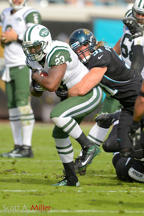 New York Jets running back Shonn Greene (23) runs upfield during an NFL game against the Jacksonville Jaguars at EverBank Field on Dec 9, 2012 in Jacksonville, Florida. The Jets won 17-10...©2012 Scott A. Miller..