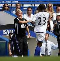 Photo: Richard Lane/Sportsbeat Images. <br />Chelsea v Birmingham. Barclay's Premiership. 12/08/2007. <br />Birmingham's Olivier Kapo celebrates his goal with manager, Steve Bruce.