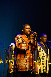"February 11, 2011 - Aspen, CO, U.S. - Ladysmith Black Mambazo performing songs from the new album ""Songs From a Zulu Farm"" at the Wheeler Opera House in Aspen Colorado. (Credit Image: © Lynn Goldsmith via ZUMA Press)"