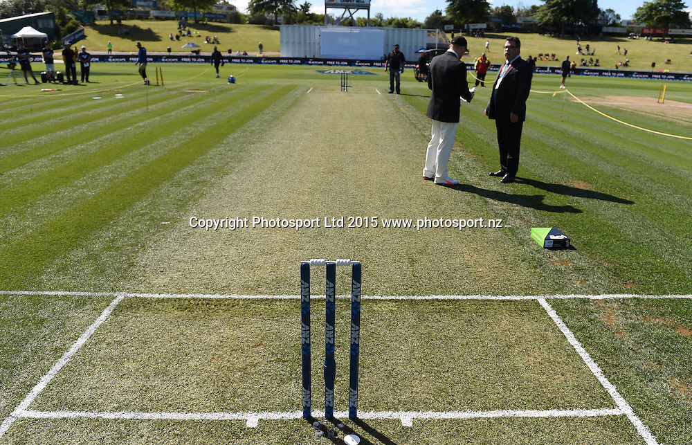 A green wicket on day 1 of the 2nd cricket test match between New Zealand Black Caps and Sri Lanka at Seddon Park in Hamilton, New Zealand. Friday 18 December 2015. Copyright photo: Andrew Cornaga / www.photosport.nz