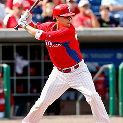 February 29, 2012; Clearwater, FL, USA; Philadelphia Phillies right fielder John Bowker (16) during a spring training exhibition game against Florida State University at Bright House Networks Field. The Phillies defeated Florida State 6-1. Mandatory Credit: Derick E. Hingle-US PRESSWIRE