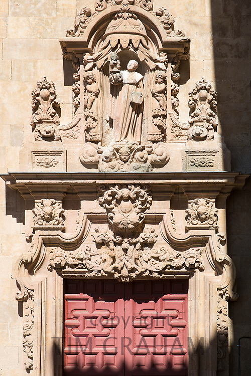 Stone carvings University of Salamanca in Plaza de Anaya, Spain