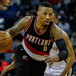 Mar 14, 2017; New Orleans, LA, USA; Portland Trail Blazers guard Damian Lillard (0) against the New Orleans Pelicans during the second half of a game at the Smoothie King Center. The Pelicans defeated the Trail Blazers 100-77. Mandatory Credit: Derick E. Hingle-USA TODAY Sports
