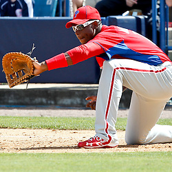 March 4, 2012; Tampa Bay, FL, USA; Philadelphia Phillies center fielder John Mayberry Jr. (15) against the New York Yankees during spring training game at George M. Steinbrenner Field. Mandatory Credit: Derick E. Hingle-US PRESSWIRE