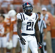 AUSTIN, TX - SEPTEMBER 14: Senquez Golson #21 of the Mississippi Rebels looks on against the Texas Longhorns on September 14, 2013 at Darrell K Royal-Texas Memorial Stadium in Austin, Texas.  (Photo by Cooper Neill/Getty Images) *** Local Caption *** Senquez Golson