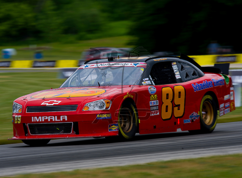 Elkhart Lake,WI - JUN 22, 2012: Morgan Shepherd (89) takes to the track during the first practice for the Sargento 200  race at Road of America in Elkhart Lake , WI.