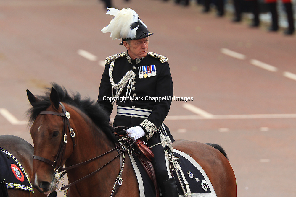 Metropolitan Police Commissioner Bernard Hogan-Howe on The Mall, mounted in full dress order at HM The Queen's Parade for her Diamond Jubilee. June 05 2012. London, United Kingdom.<br /> Photo Credit: Mark Chappell/i-Images<br /> &copy; Mark Chappell/i-Images 2012. All Rights Reserved. See instructions
