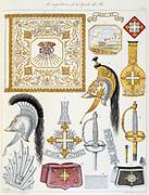 French military accoutrements including sword of the royal guard.  From 'Histoire de la maison militaire du Roi de 1814 a 1830' by Eugene Titeux, Paris, 1890.