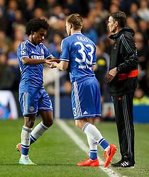 Chelsea Midfielder Willian (BRA) is substituted for Defender Tomas Kalas (CZE) - Photo mandatory by-line: Rogan Thomson/JMP - 18/03/2014 - SPORT - FOOTBALL - Stamford Bridge, London - Chelsea v Galatasaray - UEFA Champions League Round of 16 Second leg.