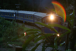 Train arriving in Machu Picchu Pueblo / Aguas Calientes, Peru<br />