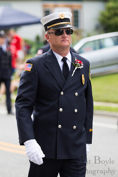 Highland Chemical Engine Company member Ray Kelly in the Pitman 4th of July Parade at Broadway in Pitman, NJ on Thursday July 4, 2013. (photo / Mat Boyle)