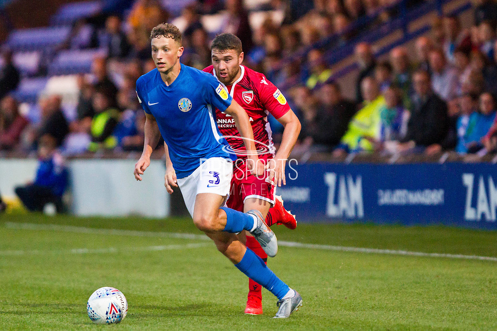 Macclesfield Town defender Eddie Clarke in action  during the EFL Sky Bet League 2 match between Macclesfield Town and Morecambe at Moss Rose, Macclesfield, United Kingdom on 20 August 2019.