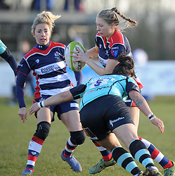 Lottie Holland of Bristol Ladies is tackled by Courtney Gill of Worcester Valkyries - Mandatory by-line: Paul Knight/JMP - 04/12/2016 - RUGBY - Cleve RFC - Bristol, England - Bristol Ladies v Worcester Valkyries - RFU Women's Premiership
