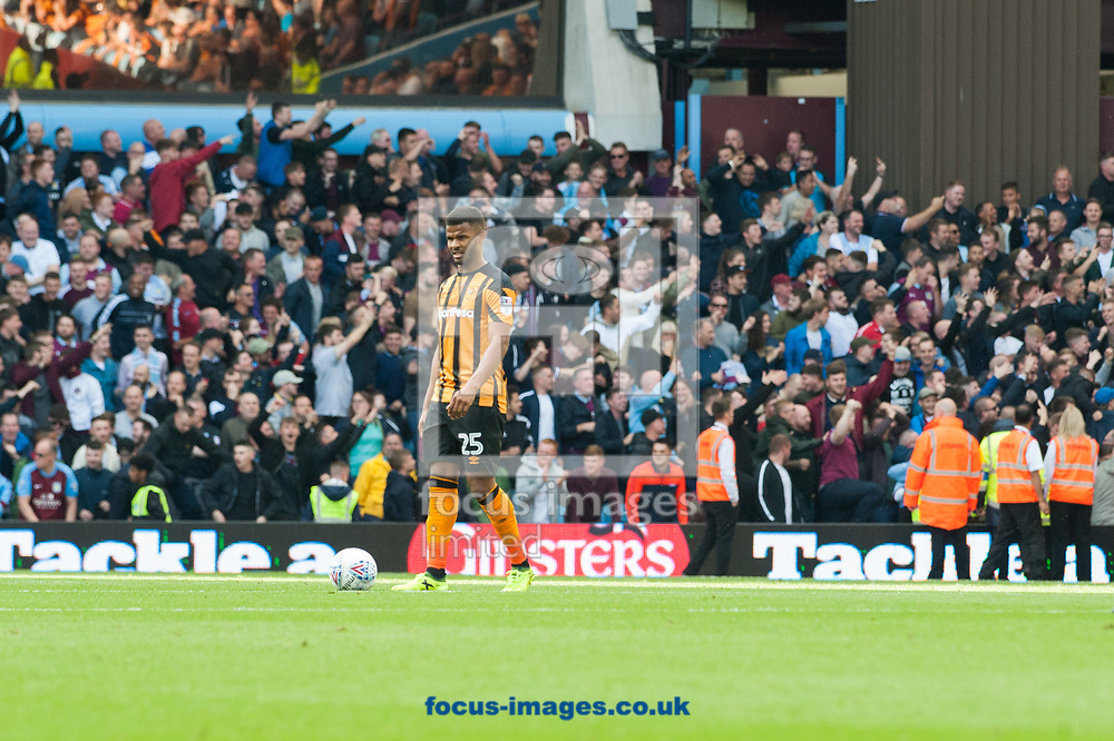 Fraizer Campbell of Hull City brings the ball back to the centre spot following Gabriel Agbonlahor of Aston Villa's goal during the Sky Bet Championship match at Villa Park, Birmingham<br /> Picture by Matt Wilkinson/Focus Images Ltd 07814 960751<br /> 05/08/2017