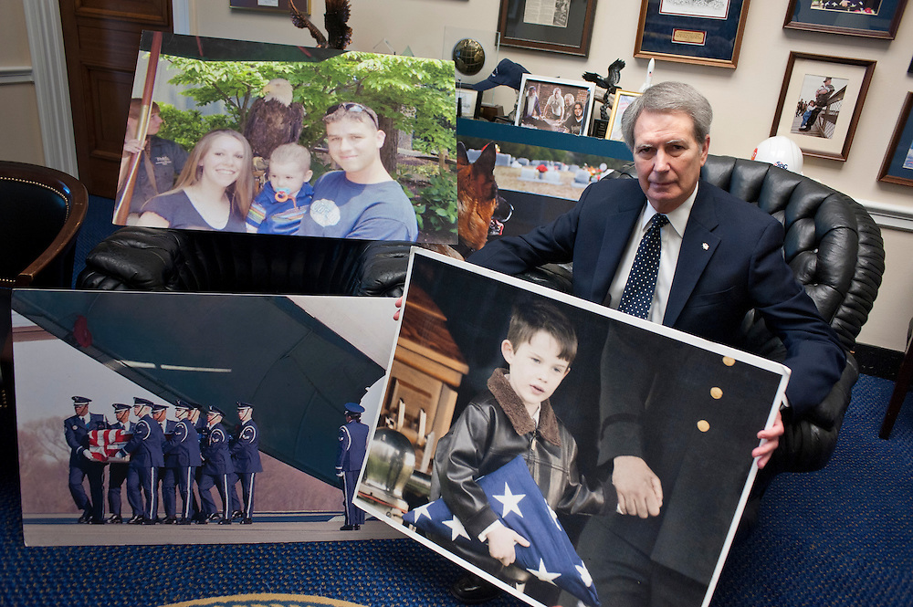 Republican congressman Walter Jones (R-NC),whose district includes Camp Lejeune, is on a six-year quest to atone for his Iraq war vote. On Thursday, Jones walked down to the House floor, carrying under his arm posters of a dead Marine, a grieving widow, a child holding a folded flag. The House will vote on a resolution he co-sponsored with Dennis Kucinich to get troops out of Afghanistan by December.
