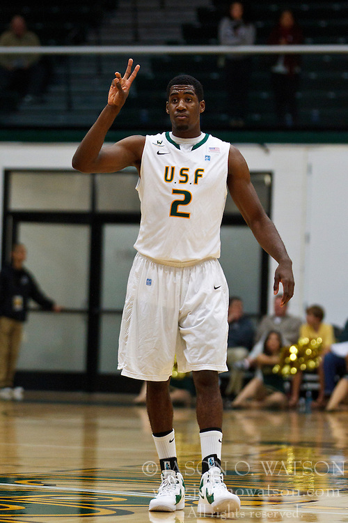 Nov 16, 2011; San Francisco CA, USA;  San Francisco Dons guard Avery Johnson (2) before a free throw against the San Jose State Spartans during the first half at War Memorial Gym.  San Francisco defeated San Jose State 83-81 in overtime. Mandatory Credit: Jason O. Watson-US PRESSWIRE
