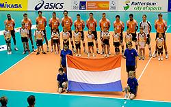 12-06-2011 VOLLEYBAL: EUROPEAN LEAGUE NETHERLANDS - AUSTRIA: ROTTERDAM<br /> Line up Netherlands<br /> &copy;2011-FotoHoogendoorn.nl