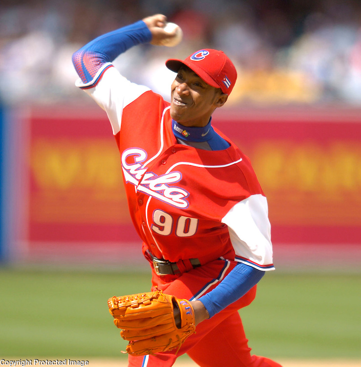 Team Cuba starter Yadel Marti throws a pitch in the 3rd inning against Team Dominican Republic in Semi-Final action of the World Baseball Classic at PETCO Park, San Diego, CA.