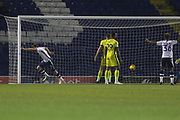 Chris Stokes opens the scoring for Bury  during the EFL Sky Bet League 2 match between Bury and Cheltenham Town at the JD Stadium, Bury, England on 27 November 2018.