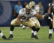 New Orleans guard Jermane Mayberry (75) during game action against St. Louis at the Edward Jones Dome in St. Louis, Missouri, October 23, 2005.  The Rams beat the Saints 28-17.