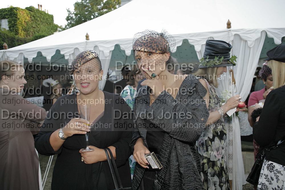Ninivah Khomo and Delilah Khomo, Stephen Jones Summer Hat party to celebrate 25 years of Milllinery. Debenham House, 8 Addison Rd. Holland Park, London. 13 July 2006.  ONE TIME USE ONLY - DO NOT ARCHIVE  © Copyright Photograph by Dafydd Jones 66 Stockwell Park Rd. London SW9 0DA Tel 020 7733 0108 www.dafjones.com