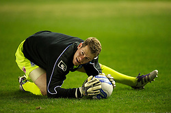 BIRKENHEAD, ENGLAND - Tuesday, March 6, 2012: Tranmere Rovers' goalkeeper Owain Fon Williams warms-up before the Football League One match against Notts County at Prenton Park. (Pic by David Rawcliffe/Propaganda)