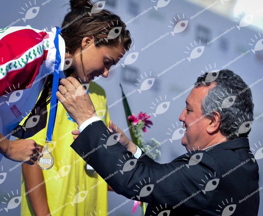 JAKABOS Zsusanna Unghary Paolo Barelli FIN president<br /> Gold Medal 200m Butterfly<br /> 50 Settecolli Trofeo Internazionale di nuoto 2013<br /> swimming<br /> Roma, Foro Italico  13 - 15/06/2013<br /> Day02 Heat<br /> Photo Rita Pannunzi/Deepbluemedia/Insidefoto