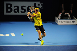 October 30, 2016 - Basel, Basel, Switzerland - Kei Nishikori (JPN) during the final of the Swiss Indoors at St. Jakobshalle in Basel, Switzerland on October 30, 2016. (Credit Image: © Miroslav Dakov/NurPhoto via ZUMA Press)